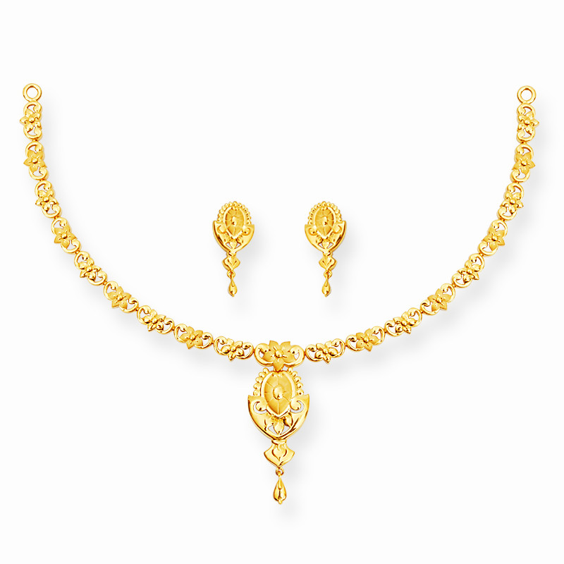 Gold Casting Flower Single Row Necklace Set