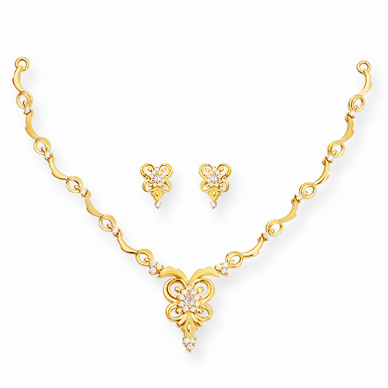 Gold Casting Butterfly Necklace Set