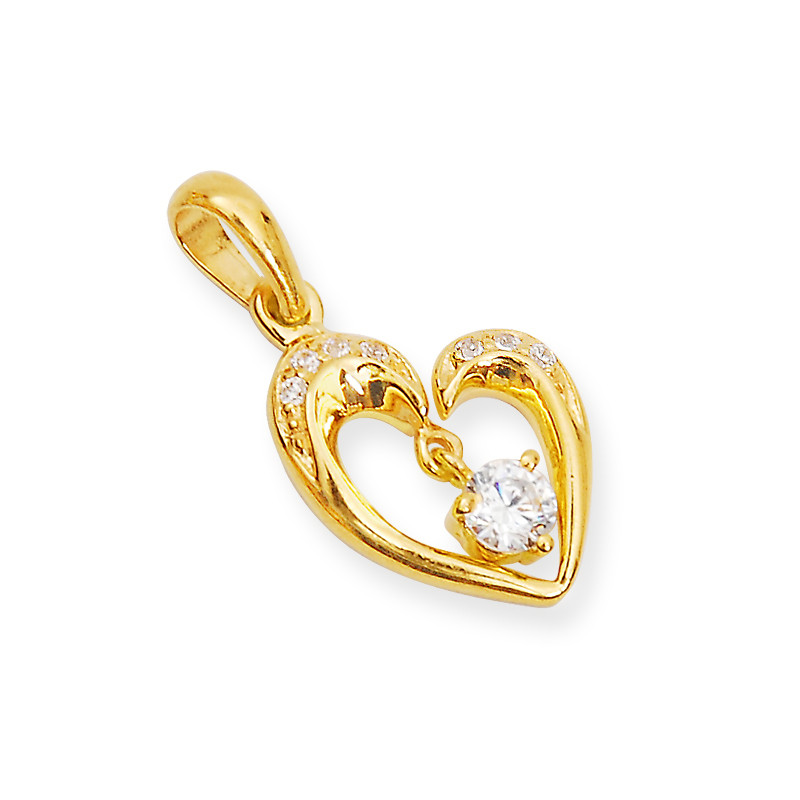 Gold Iconic Heart Pendant With Tear Drop