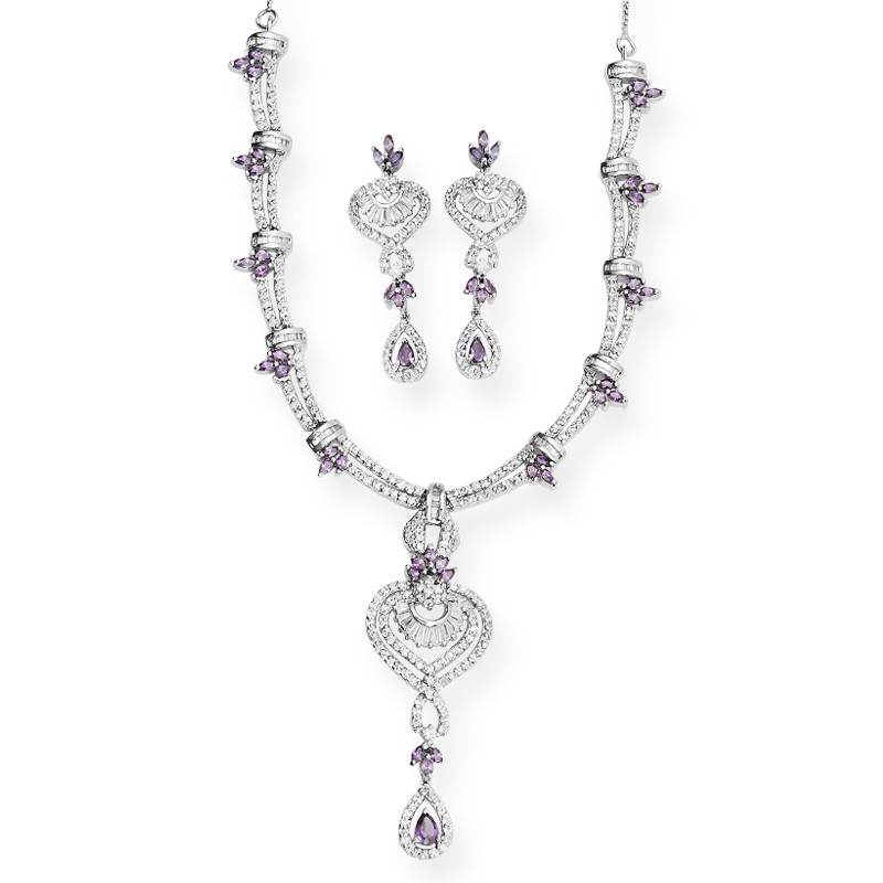 Fabulous Silver Necklace Studded with Tanzanine and Zircons