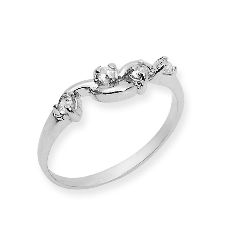 Silver Classic Cubic Zircon Triology Ring