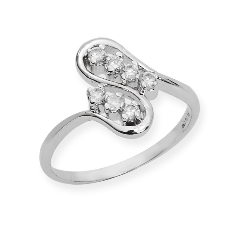 Contemporrary Silver Twist Ring With CZ Stones