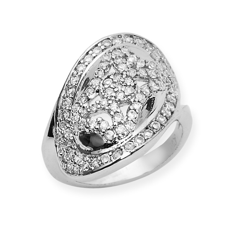 Cubic Zircon Sterling Silver Wide Ring