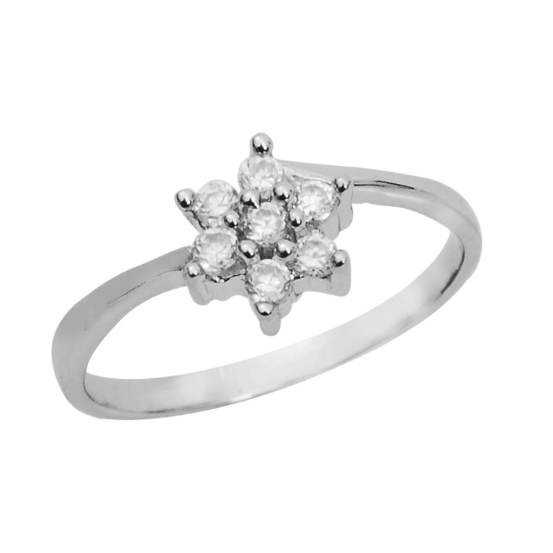 Elegant 7 Stone Crossover Silver Ring