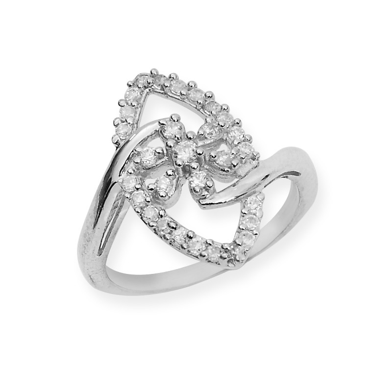 Flower in Oval Outline CZ Stone Silver Ring