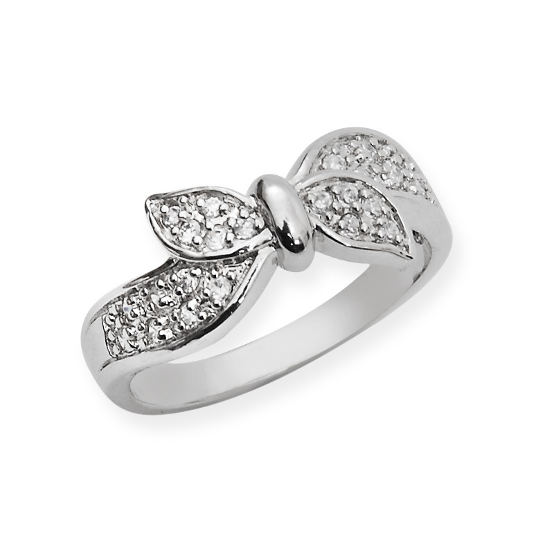 Two Leaves Wave Bend Silver Ring