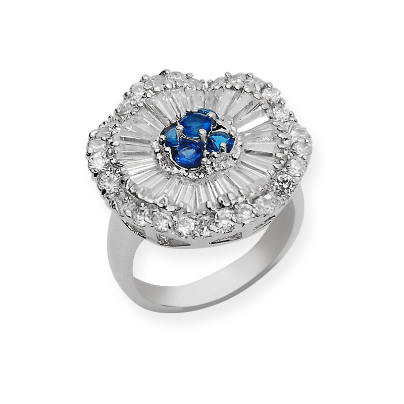 Silver Created Sapphire Cluster Ring