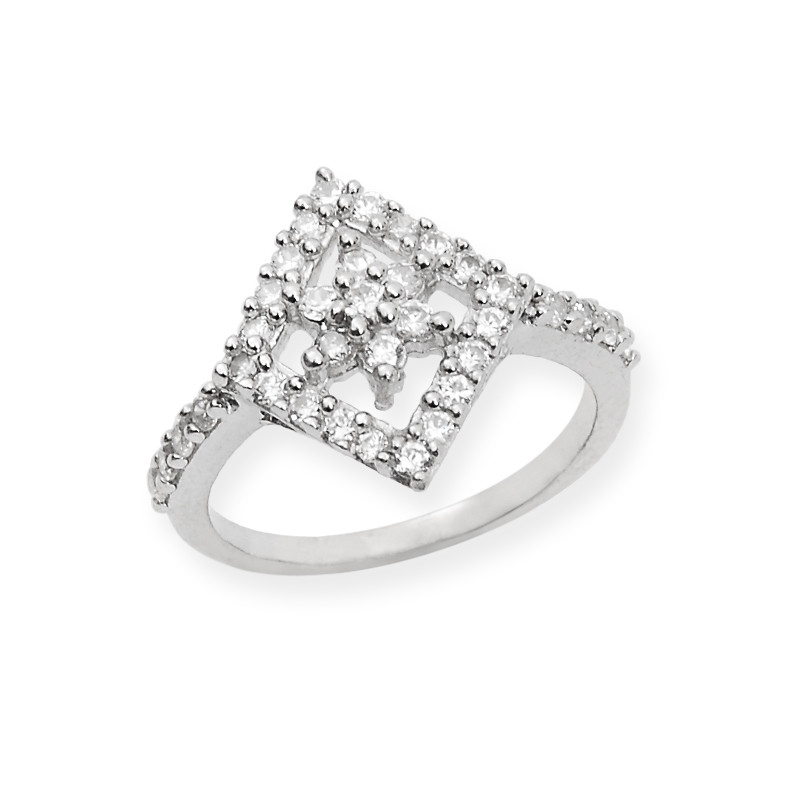 Diamond Shape Zircon Stone Silver Ring