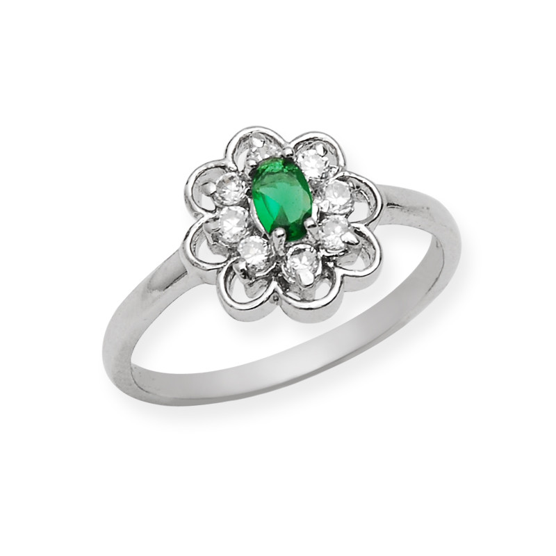Sterling Silver Oval Cut Green Stone Ring