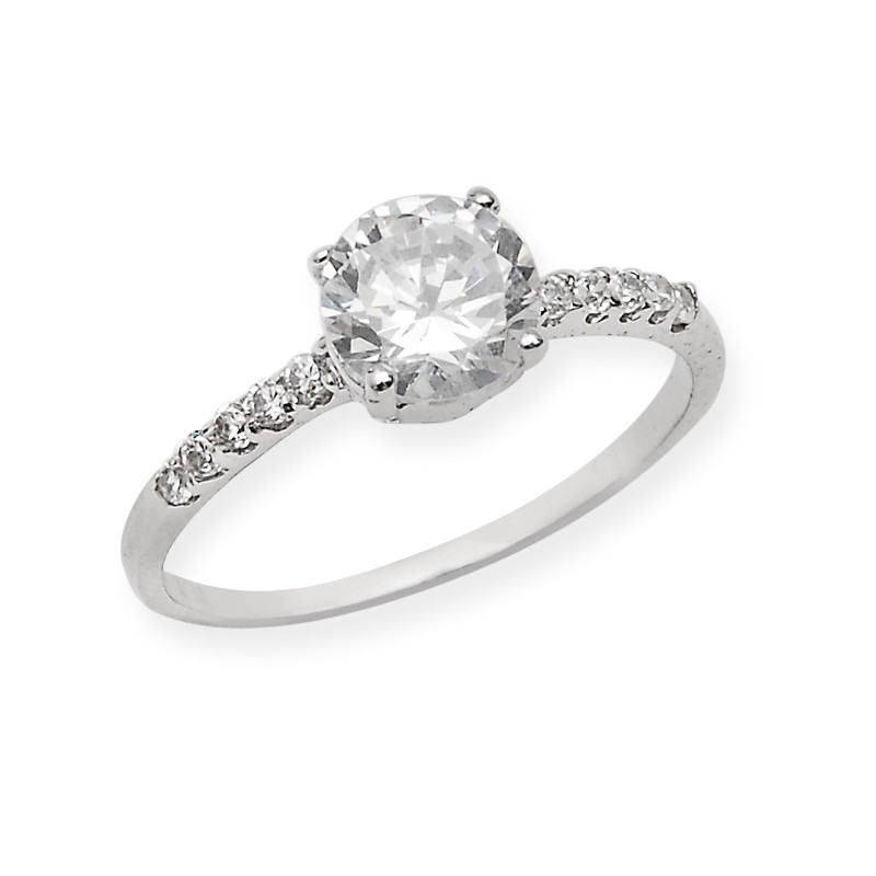 Sparkling Cubic Zirconia Solitaire Ring
