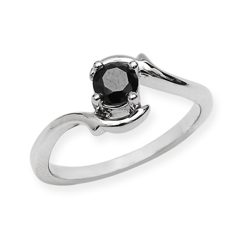 Black Stone Silver Wave Ring