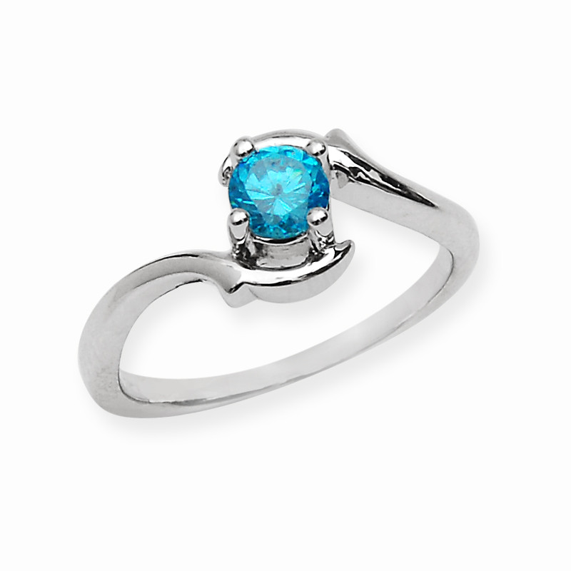 Classic Blue Stone Silver Wave Ring