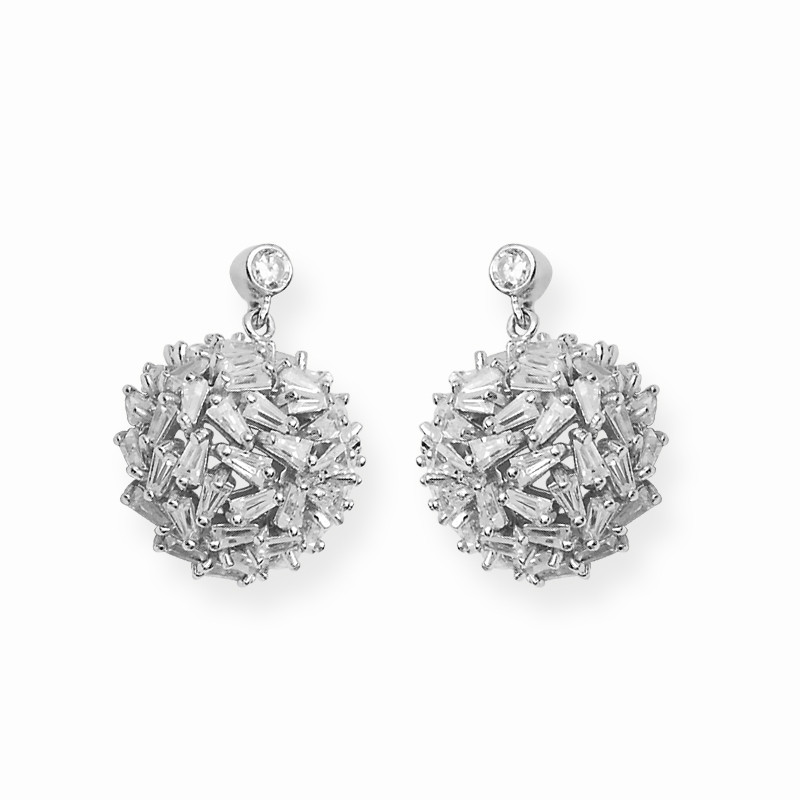 Contemporary Style Silver Earring