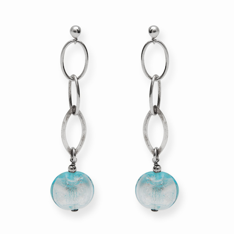 Interlinked Turquoise Ball Drop Silver Earrings