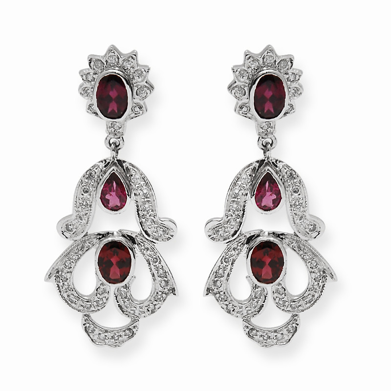 Silver Chandelier Garnet Drop Earrings
