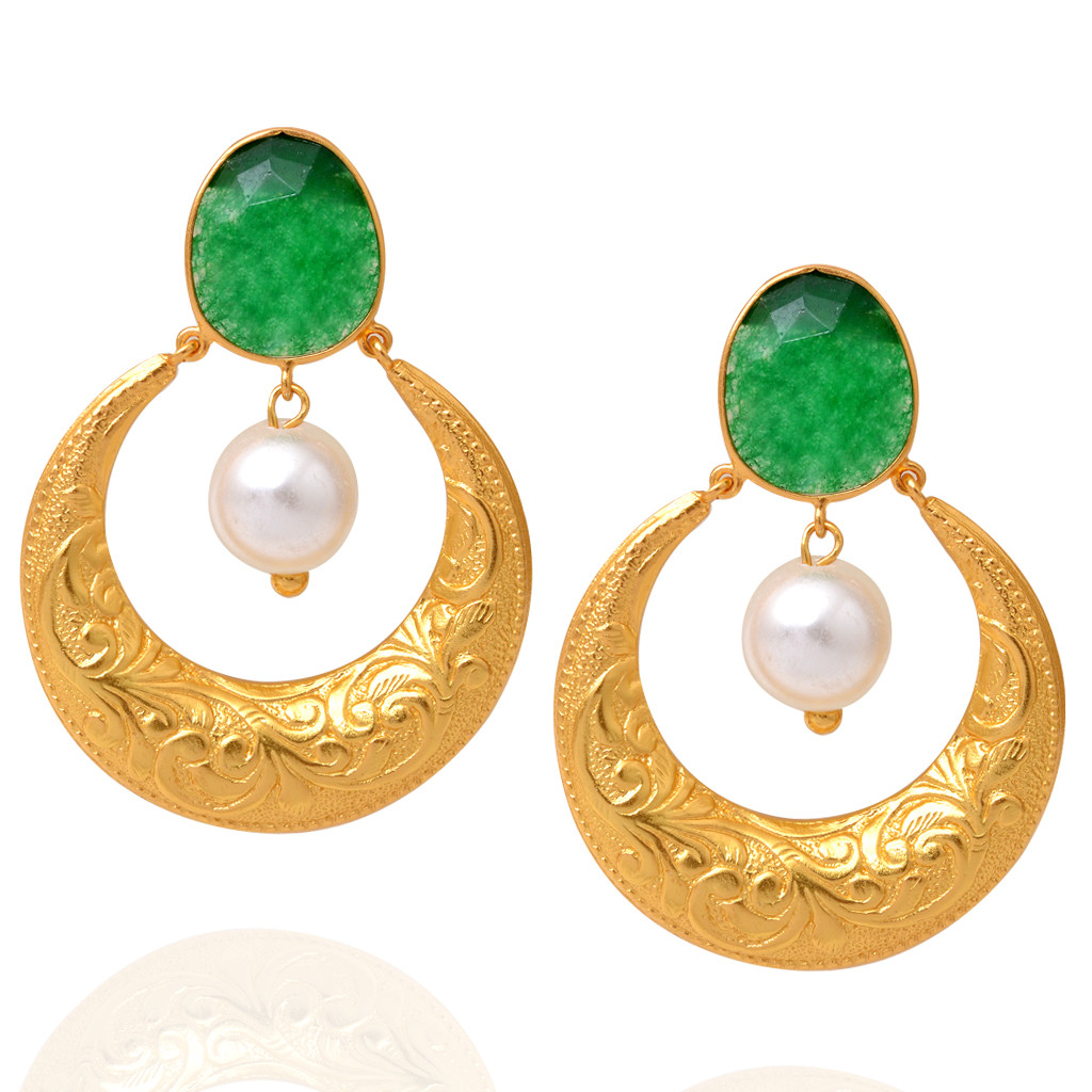 Dancing Pearl Drop With Green Stones Studded Silver Earrings