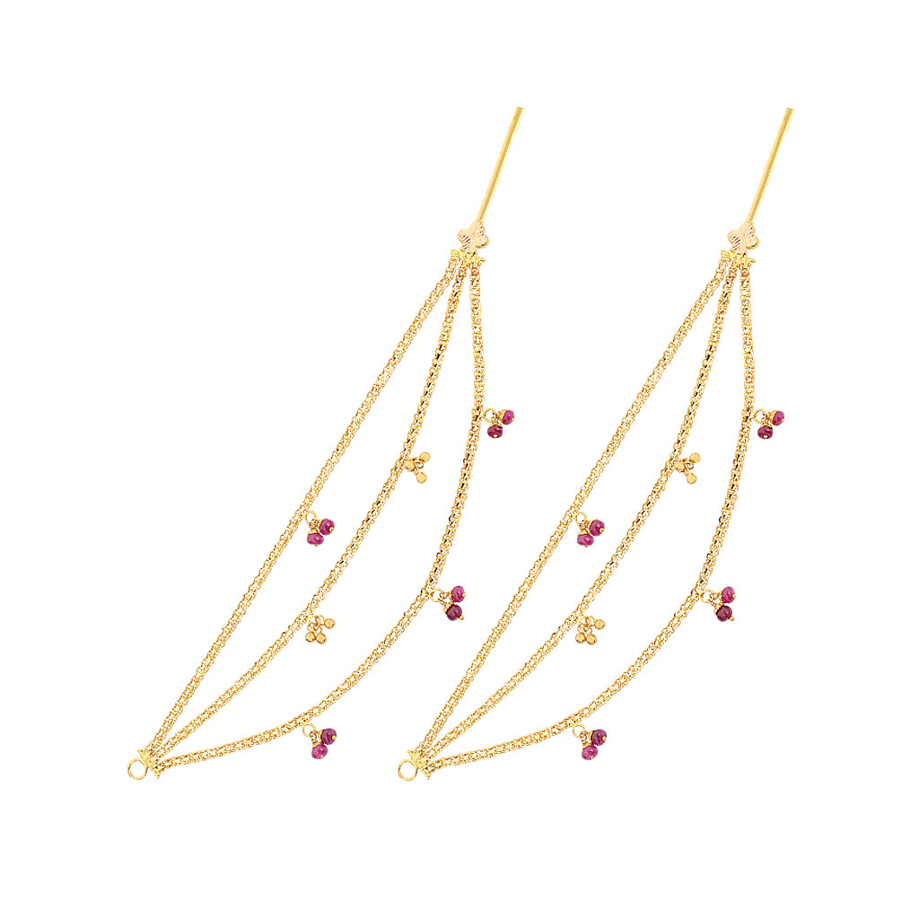 Blossom 22KT Dancing Balls Gold Earring Chain