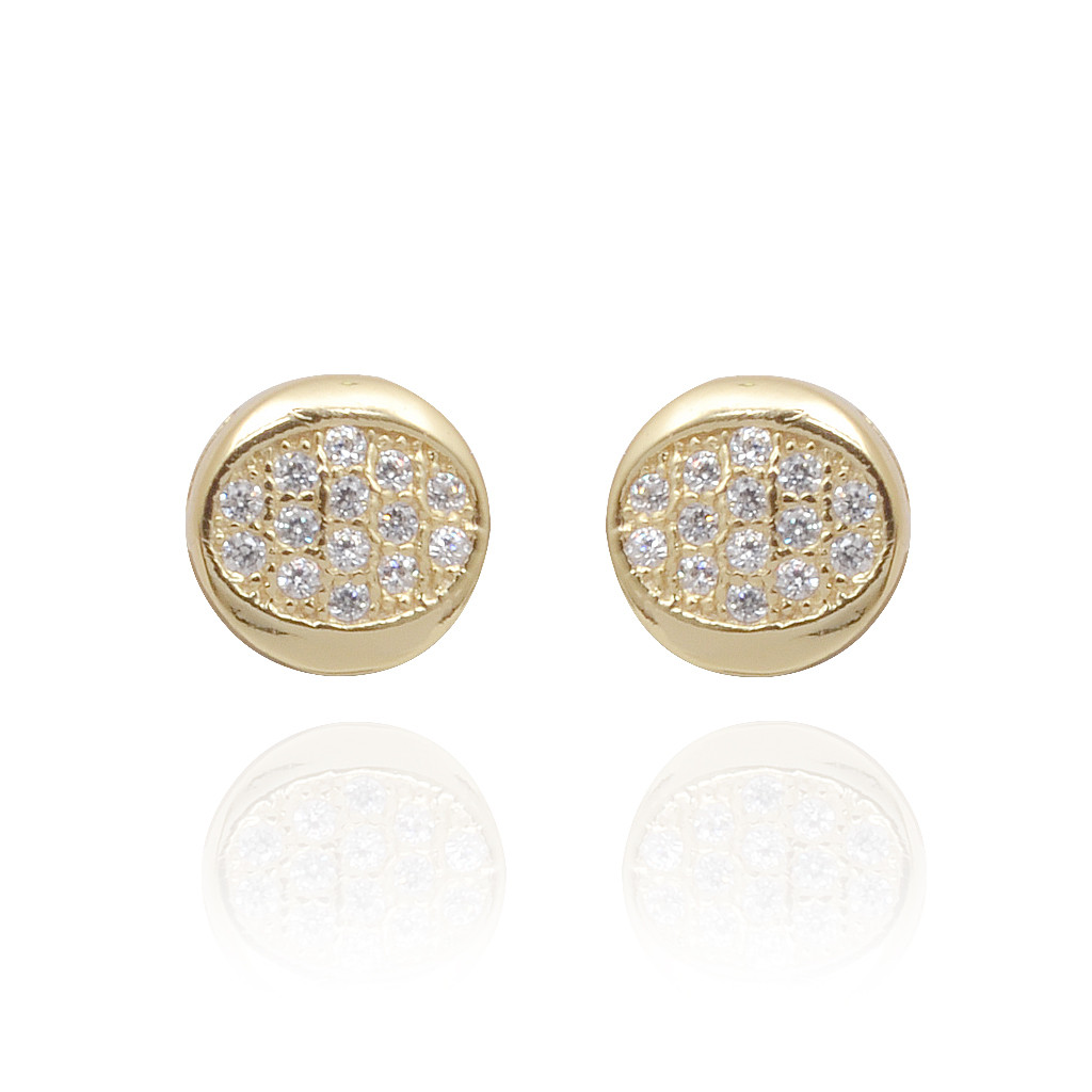 925 Circle With Pave Setting Silver Earrings