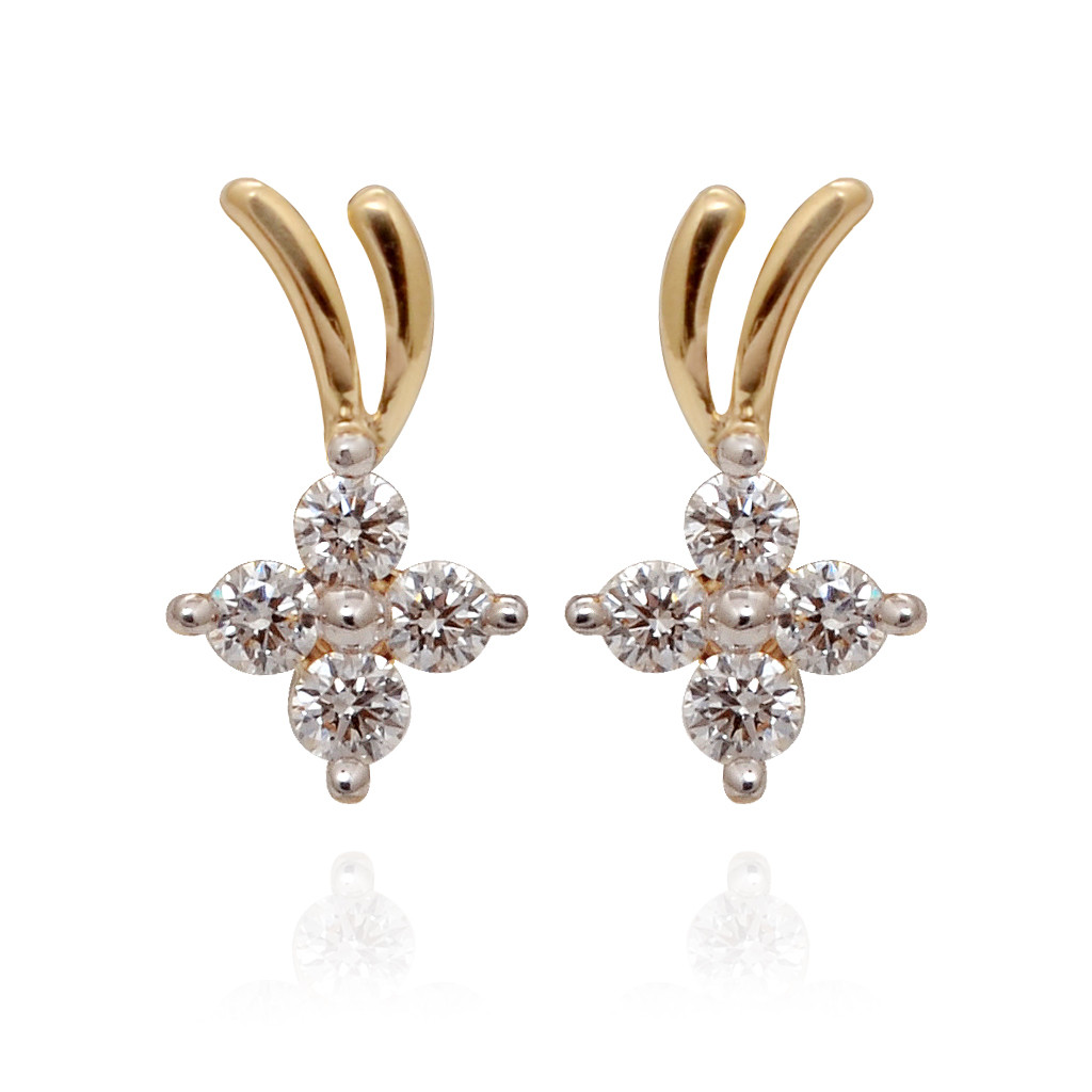 V Shaped Stone Studded Diamond Earrings