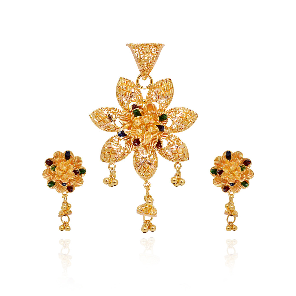 22KT Yellow Dancing Balls With Colourful Flower Gold Pendant Set