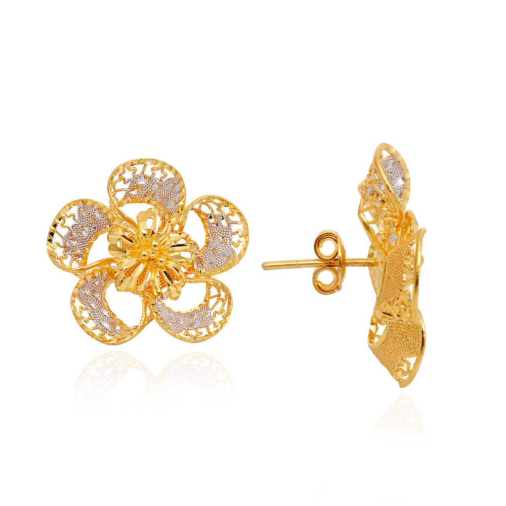 Beautiful Daisy Flower 22KT Yellow Gold Earring
