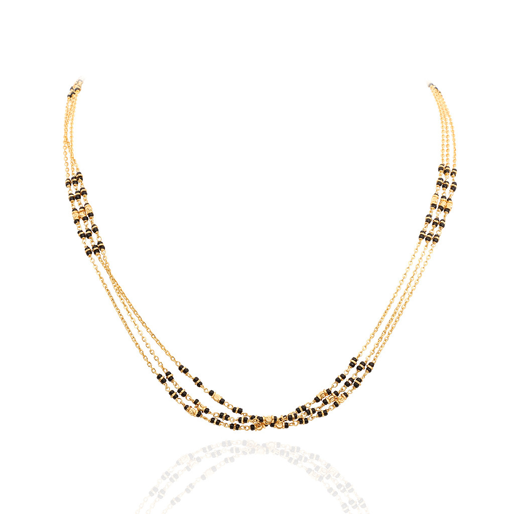 Three Row Black Beads Gold Chain