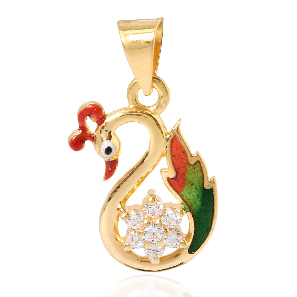 The Fusia Enameled Peacock Gold Pendant