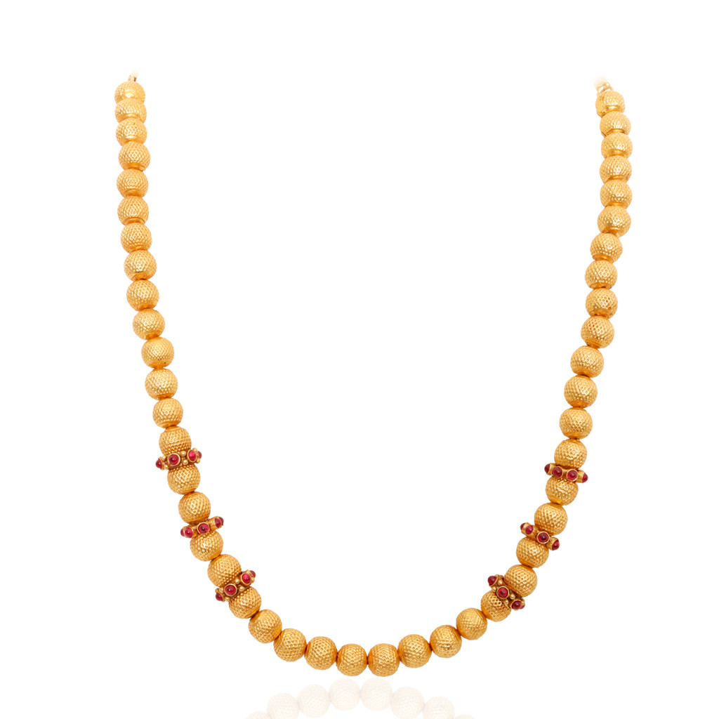 Red Stone Studded Fancy Balls Gold Chain