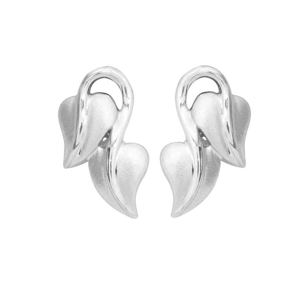 Twin Leaf Platinum Earrings