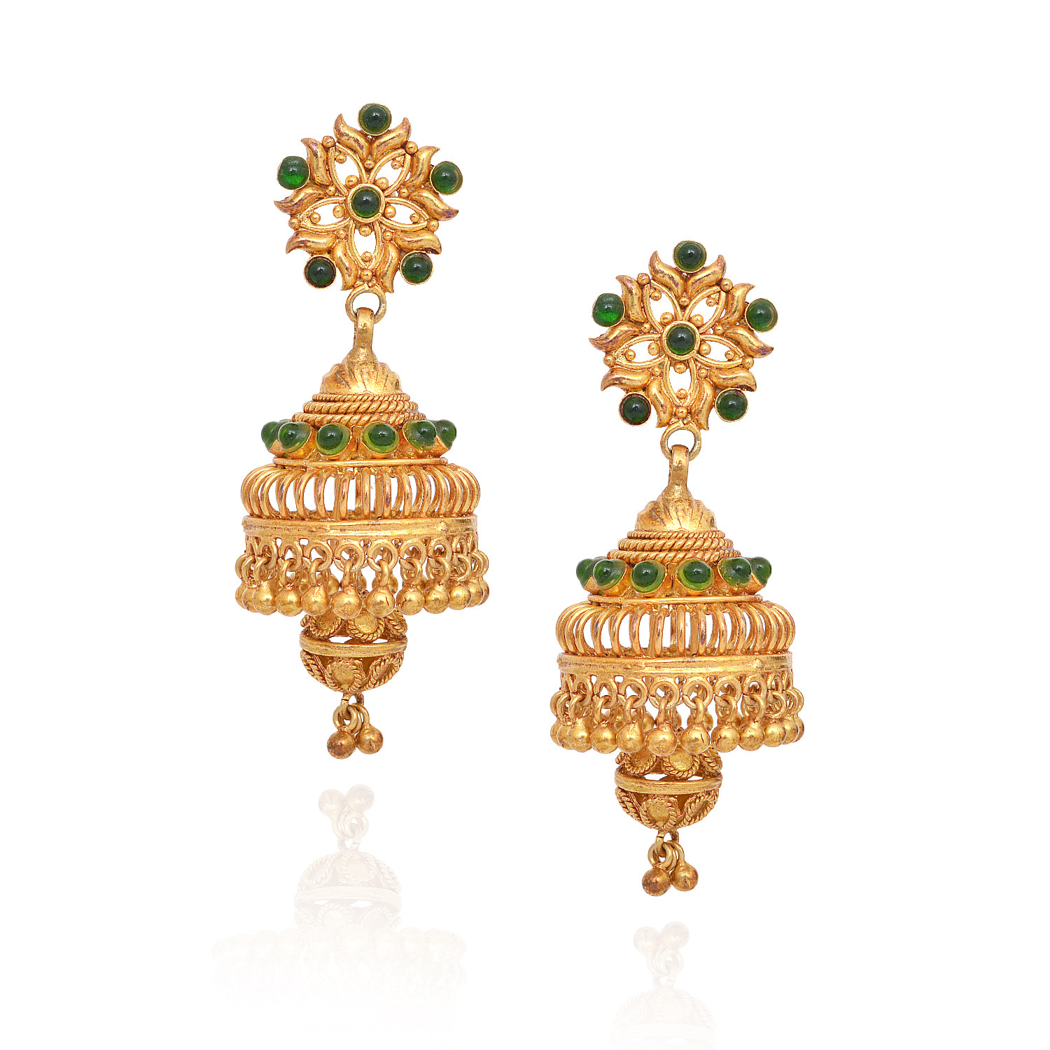 Dancing Yellow Balls With Bell Shape With Green Stone Silver Jimmiki