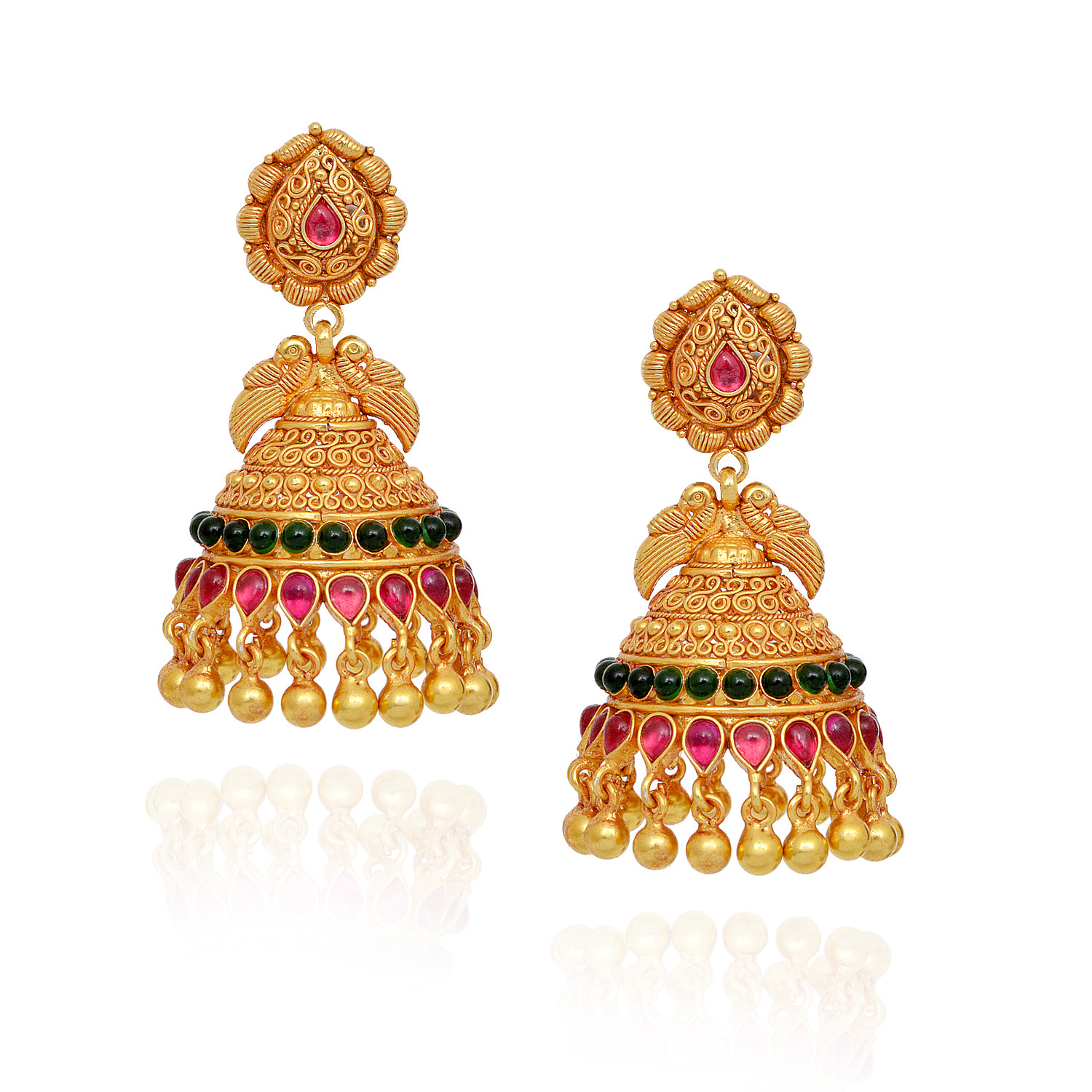 Red & Green Stones Studded Annapakshi With Yellow Balls Silver Jimmiki