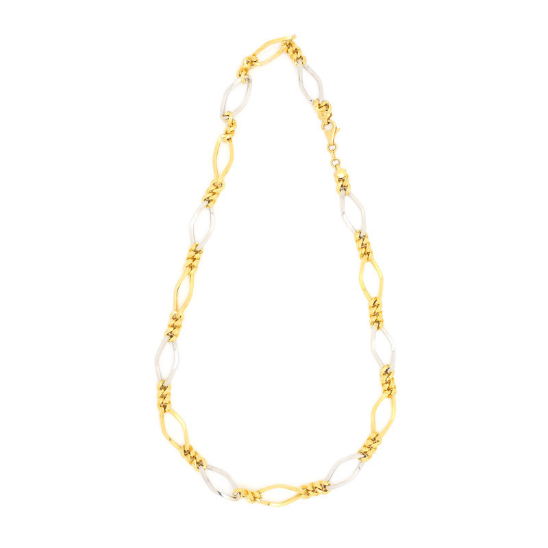 Rhodium  Polished Medium Figaro Mens Chain