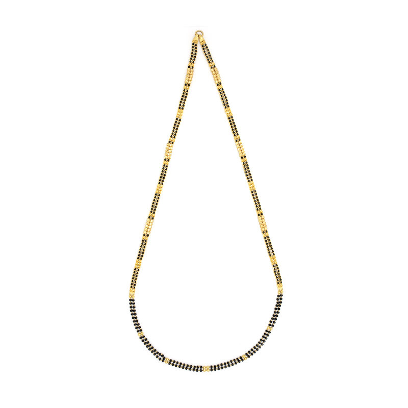 Two Strand Gold & Black Beads Chain