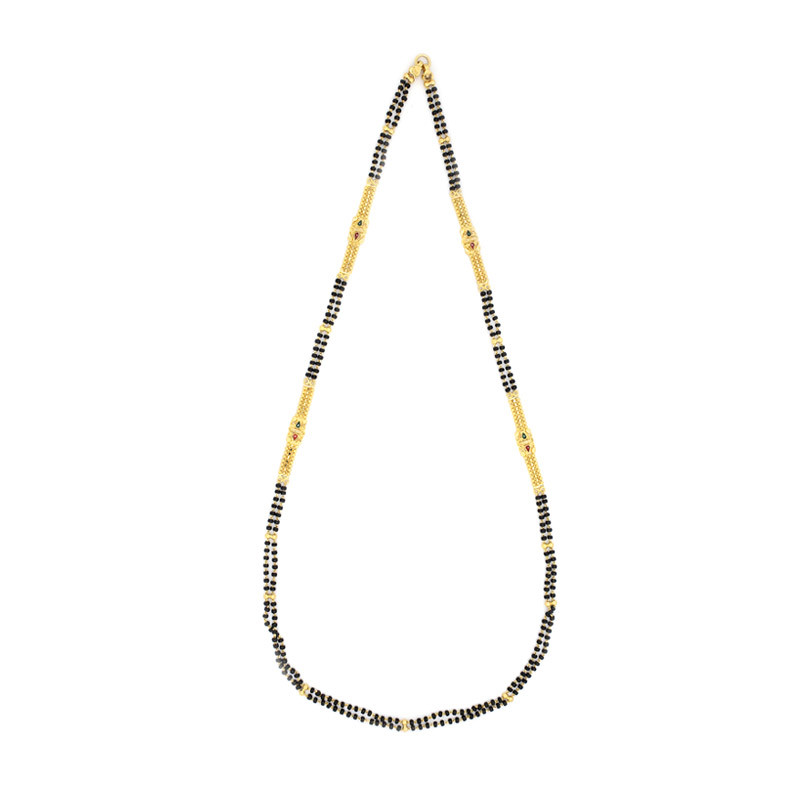 Black Beads Chain with Enamel Mugappu