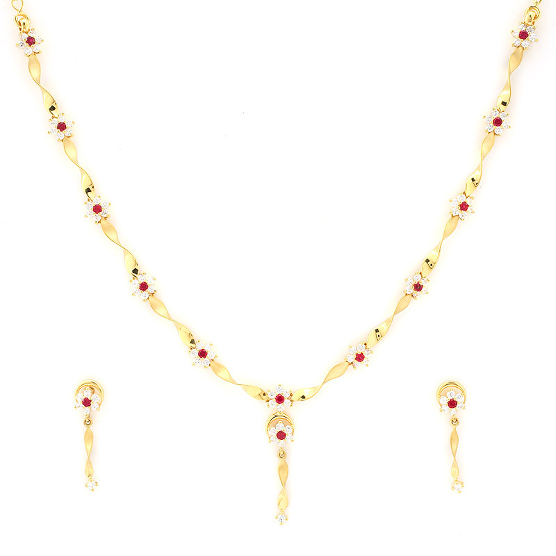Delicate Ribbon Necklace with Six-petal flower