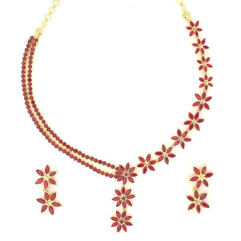 Vintage Flower Design Ruby Necklace Set