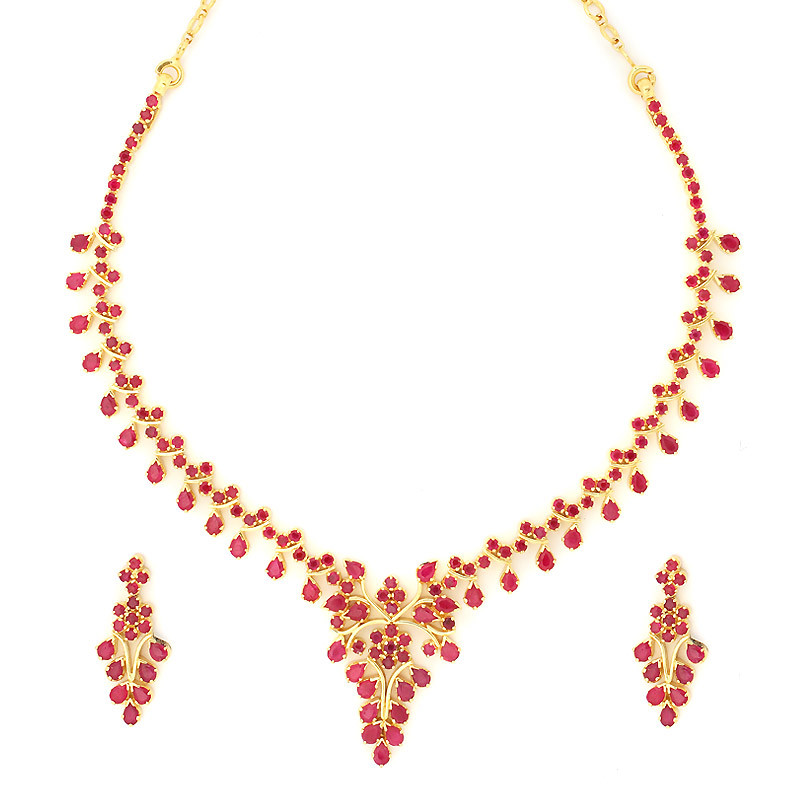 South Indian Traditional Design Ruby Necklace Set