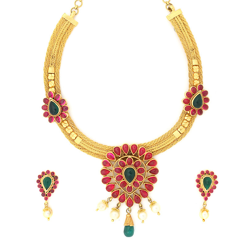 Uncut Ruby & Emerald  Neck Set with Pearl Beads Drops
