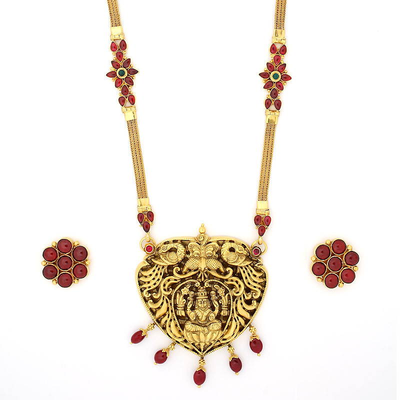 Antique Finish Nagas work Ruby Neclace set