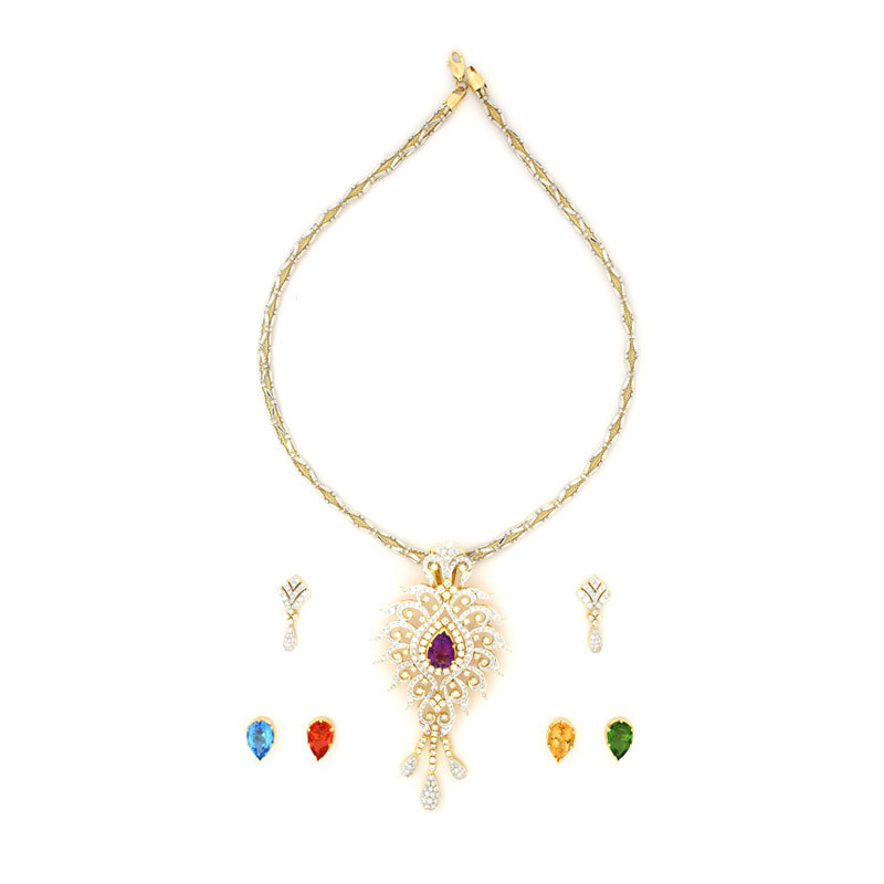 Diamond Necklace Set with Five Center Changeable Gemstones