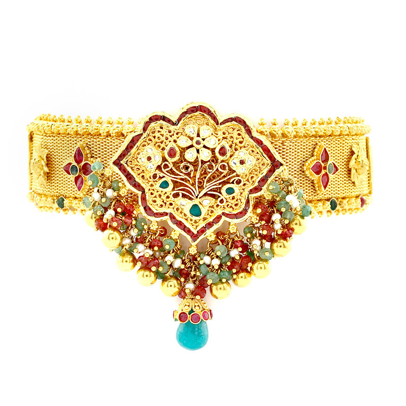 Handmade Bridal Armlet with Natural Ruby Emerald Beads
