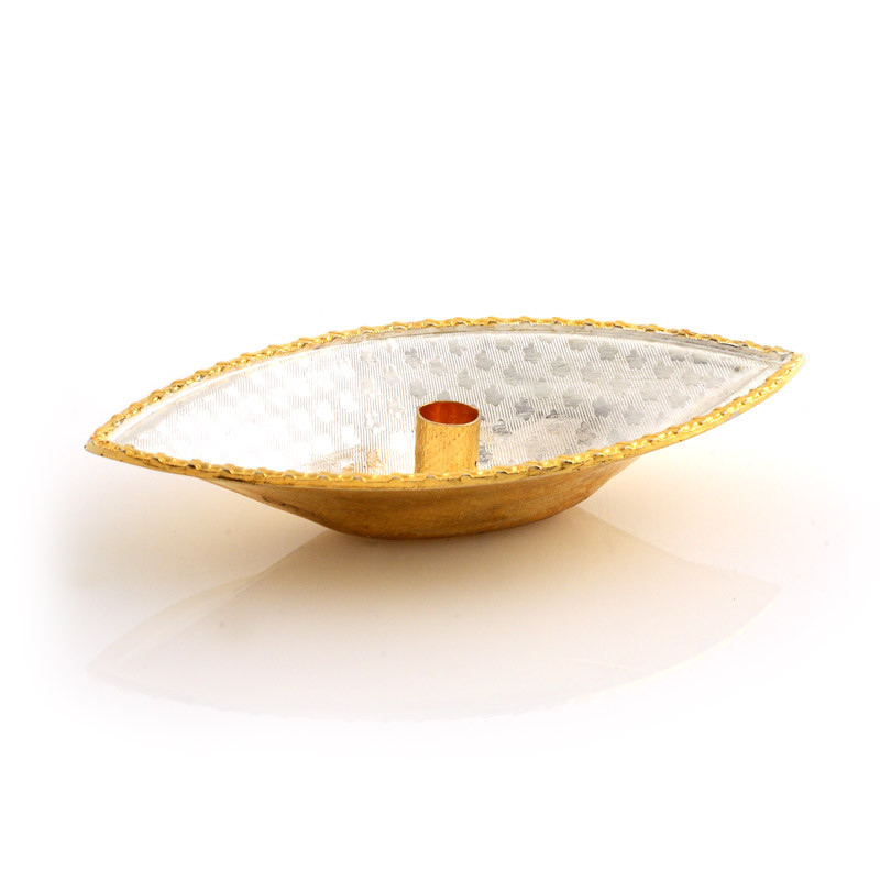 Gold Polished Silver Floating Diya
