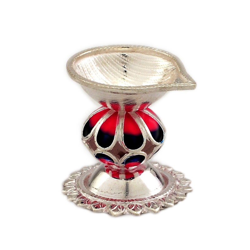 Handcrafted Indian Enameled Silver Diya