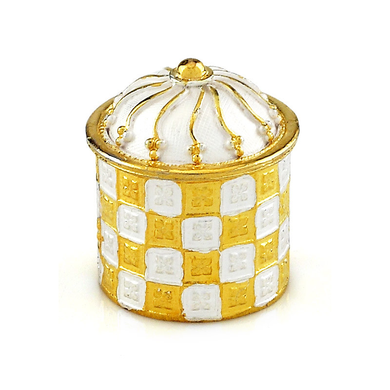 Gold Polished Silver Kumkum Box