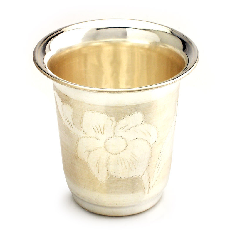 Hand Engraved Floral Designs Silver Tumbler