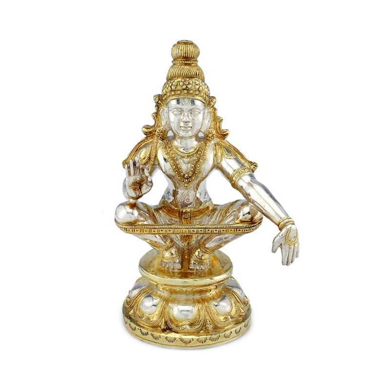 Gold Polished Lord Iyyappa Silver Vigraham