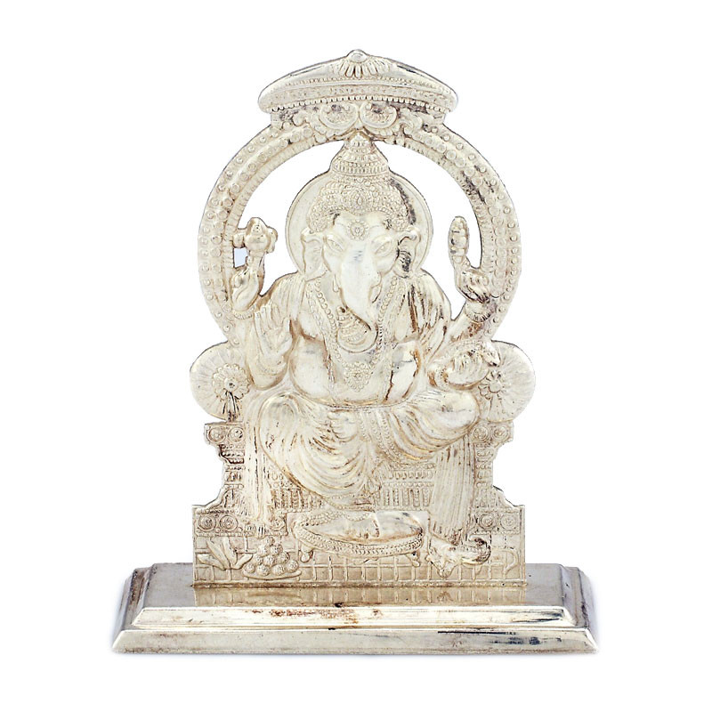 Natural Silver Finish Lord Ganesha