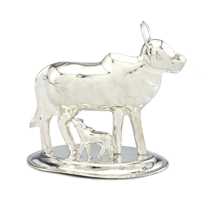 Silver Cow and Lamb Vigraham