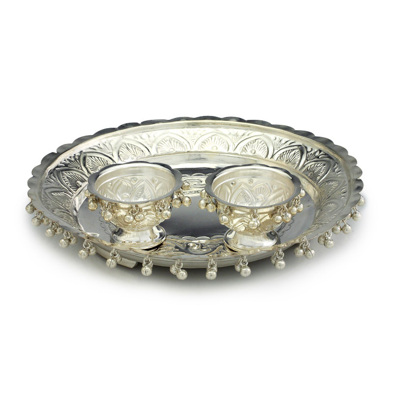 Gajai balls decorated Silver Aarti plate