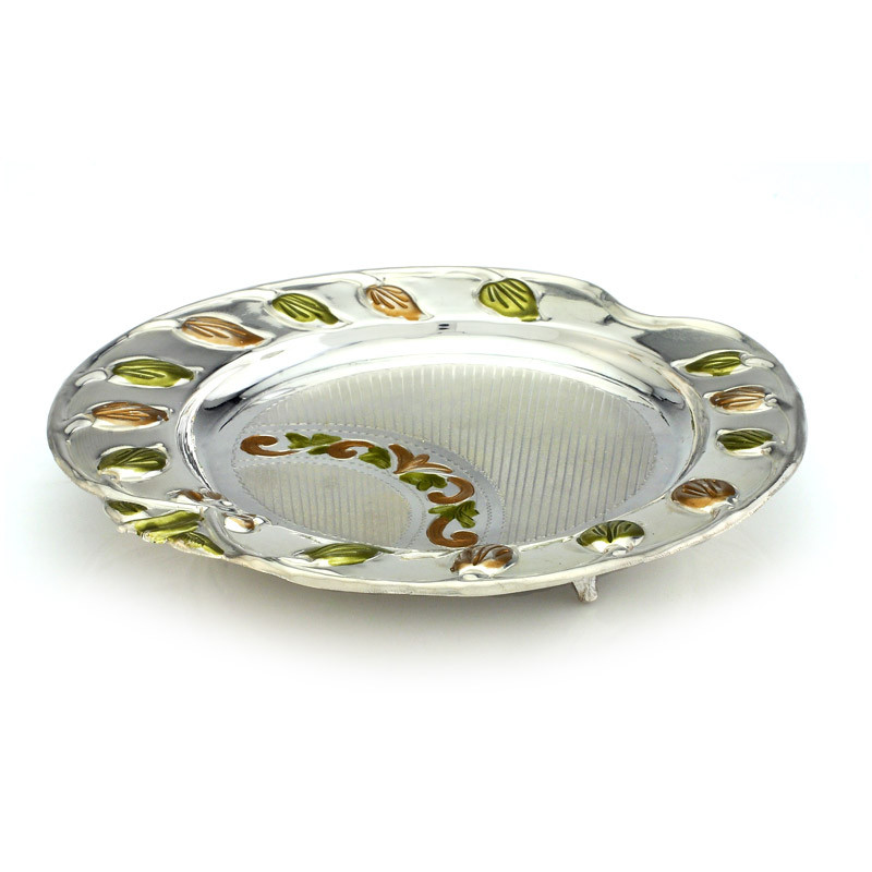 Beautifully Enameled Silver Fruits Plate